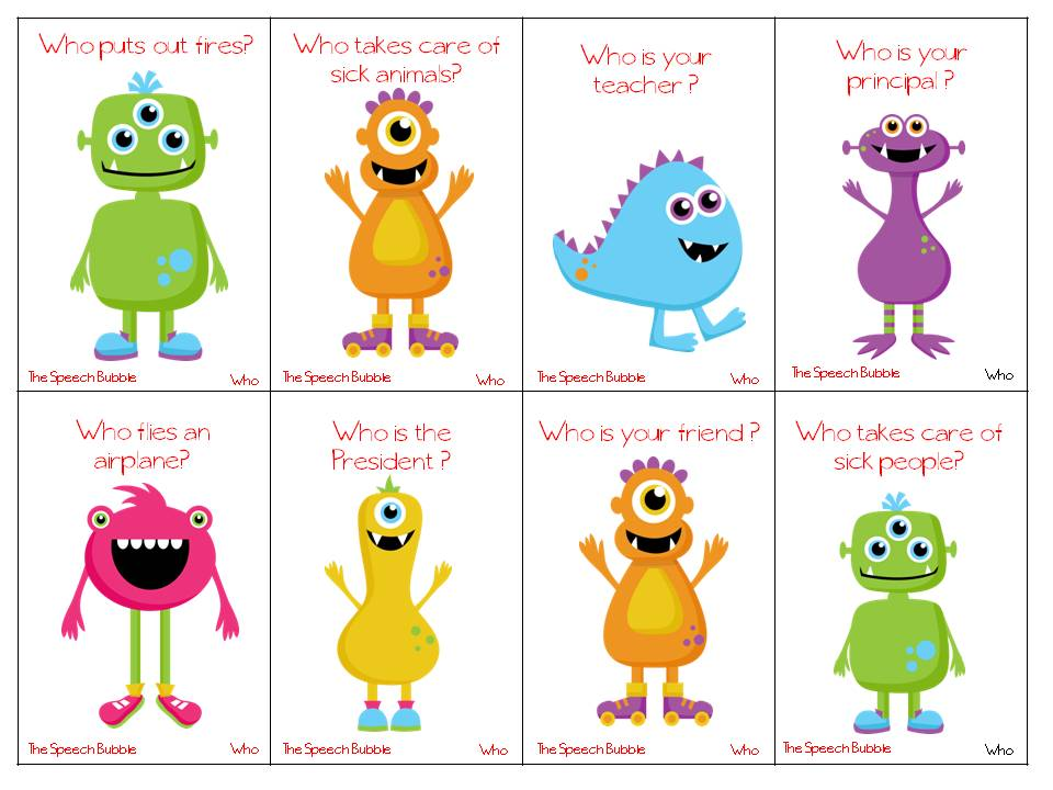 Printable Worksheets wh questions for kids worksheets : AHHHHH! WH-Question Monsters Under My Bed! - The Speech Bubble