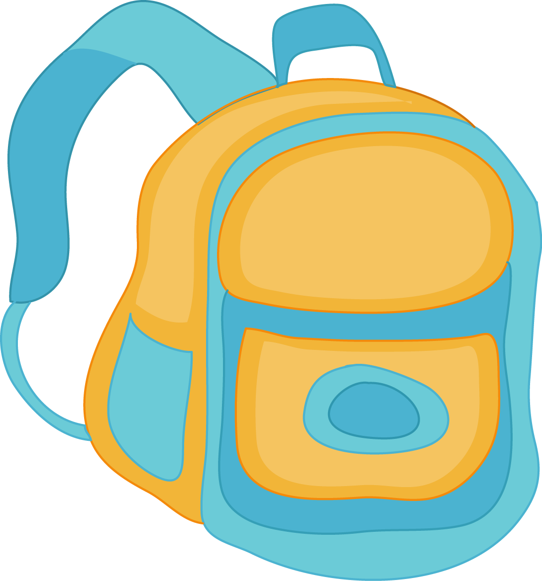 first day of speech ideas blue and yellow backpack cartoon
