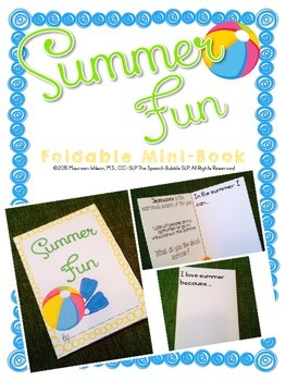 first day of speech ideas summer fun foldable minibook the speech bubble slp