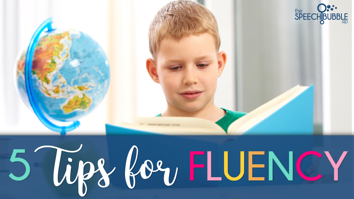 boy reading five tips for fluency speech therapy the speech bubble slp