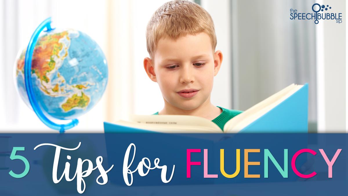 boy reading five tips for fluency speech therapy the speech bubble slp