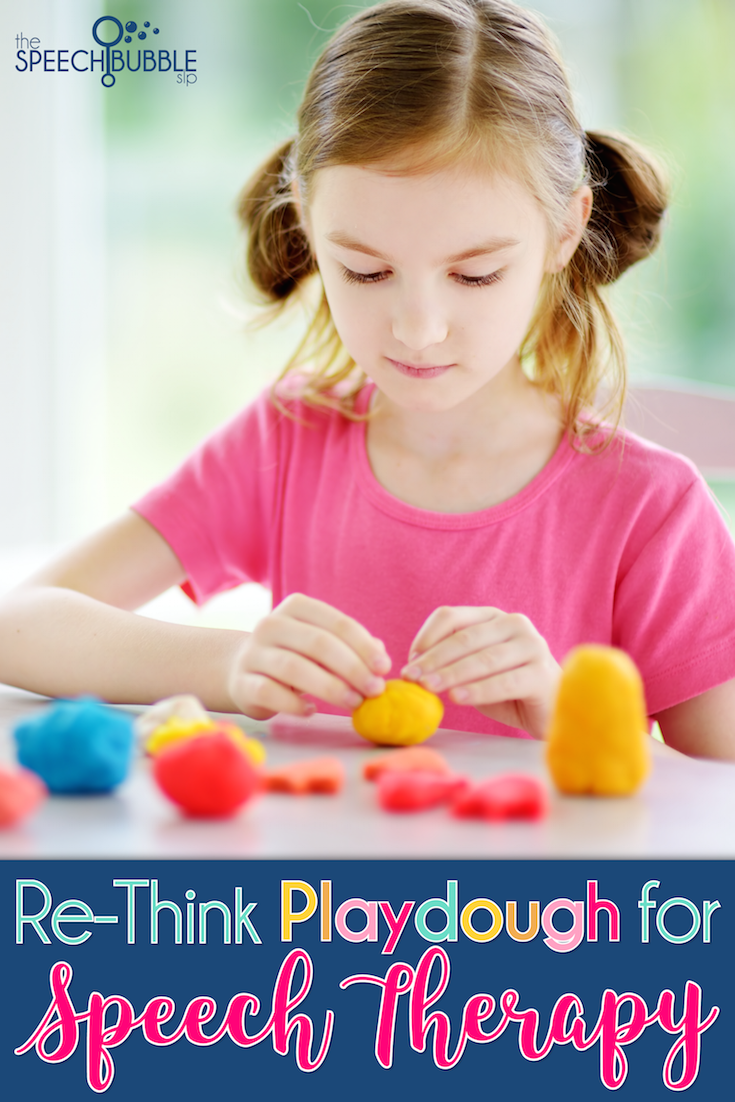 girl playing rethink playdough for speech therapy creative uses the speech bubble slp