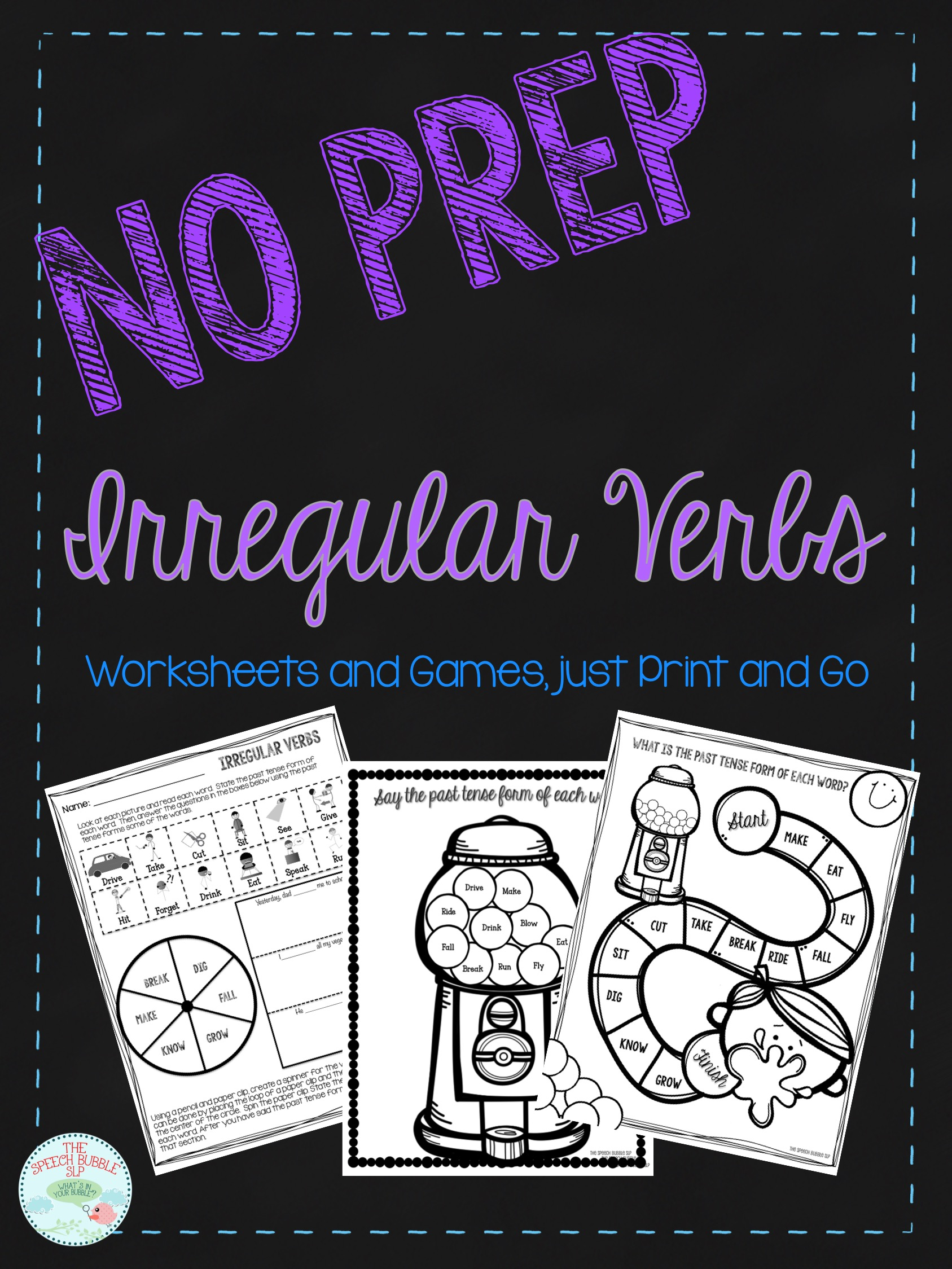 No Prep Irregular Past Tense Verb FREEBIE