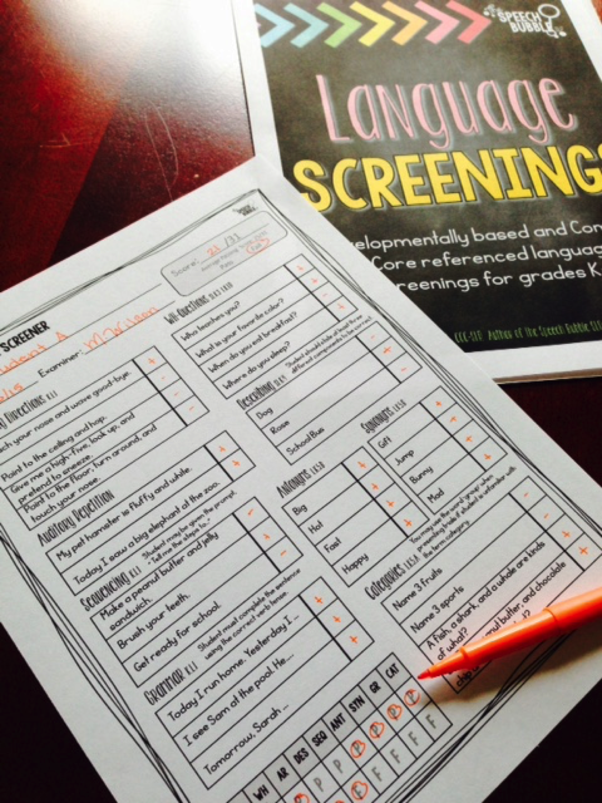 language screening guide example the speech bubble slp