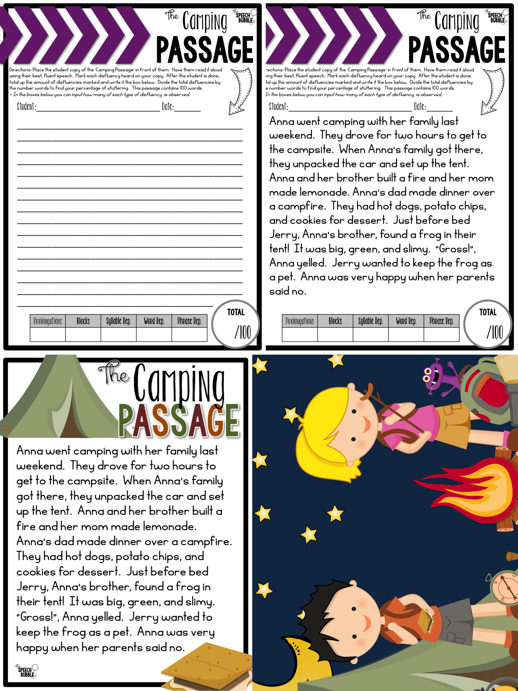 the stuttering screener the speech bubble slp camping passage example