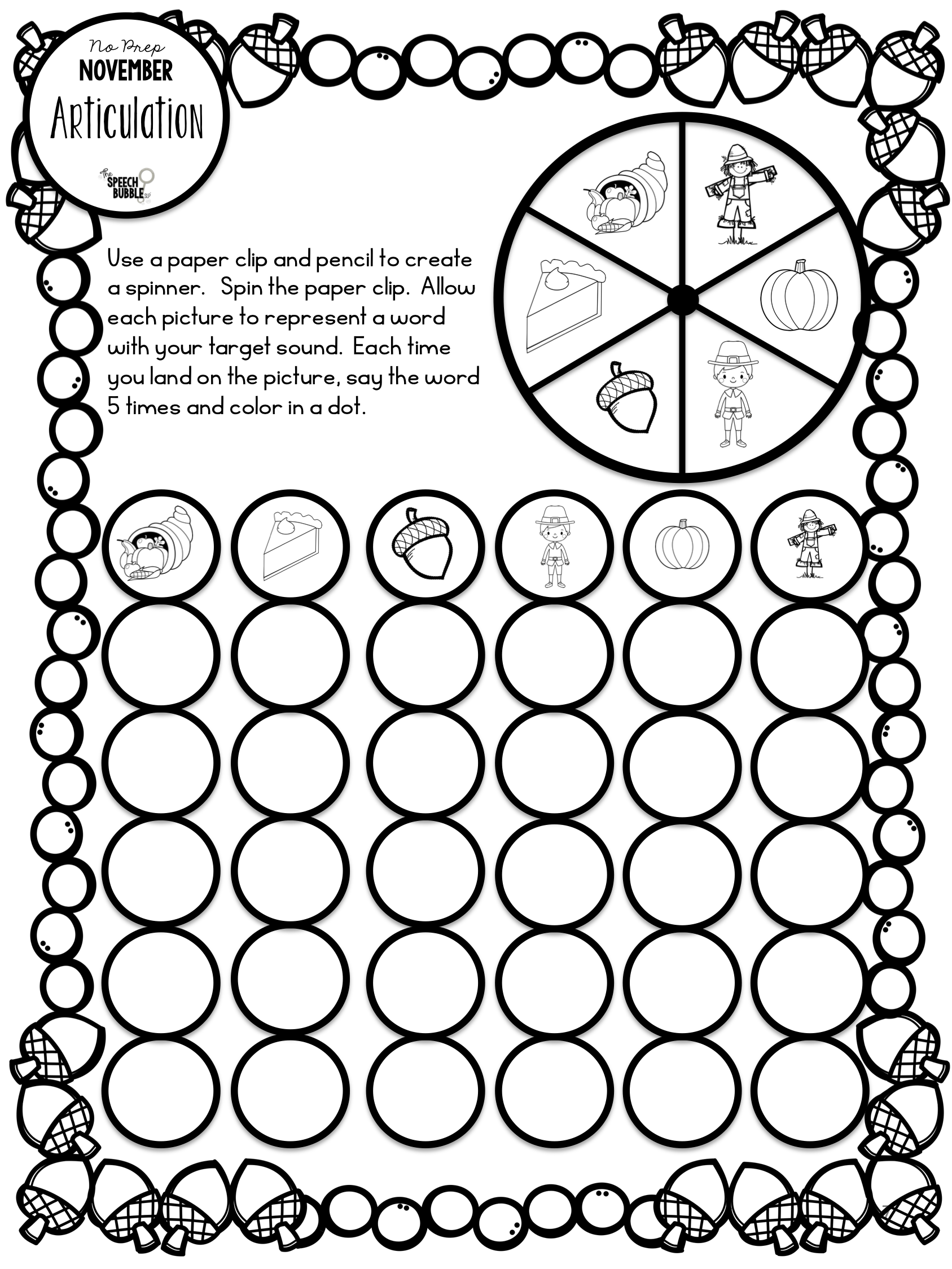 Thanksgiving Dauber Coloring Pages