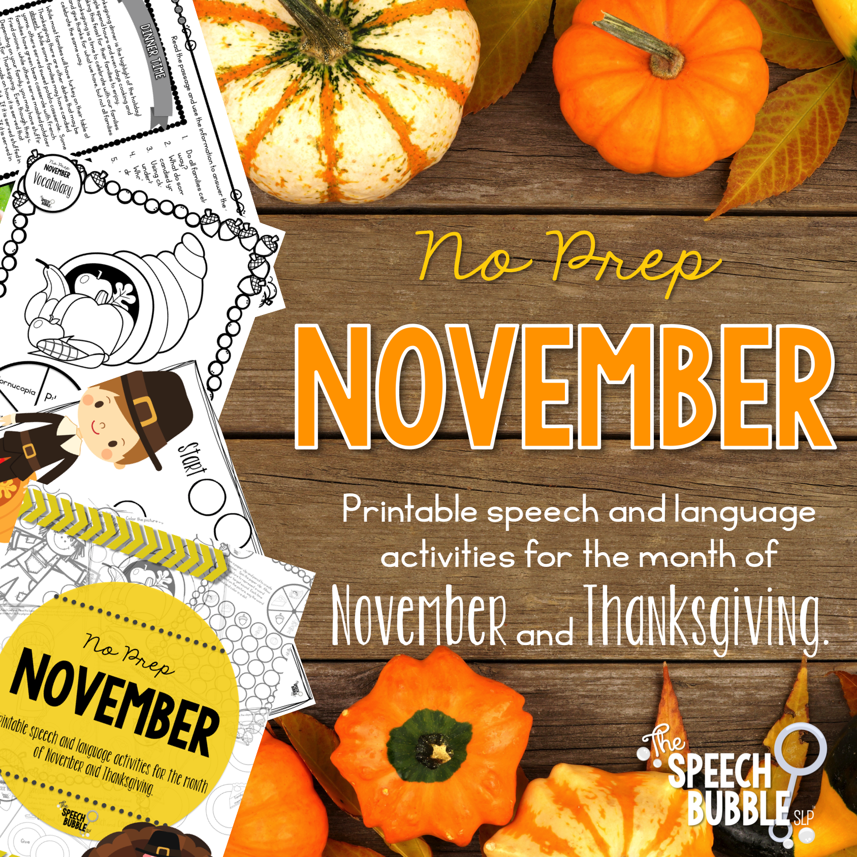 no prep november and thanksgiving the speech bubble slp printable speech and language activities