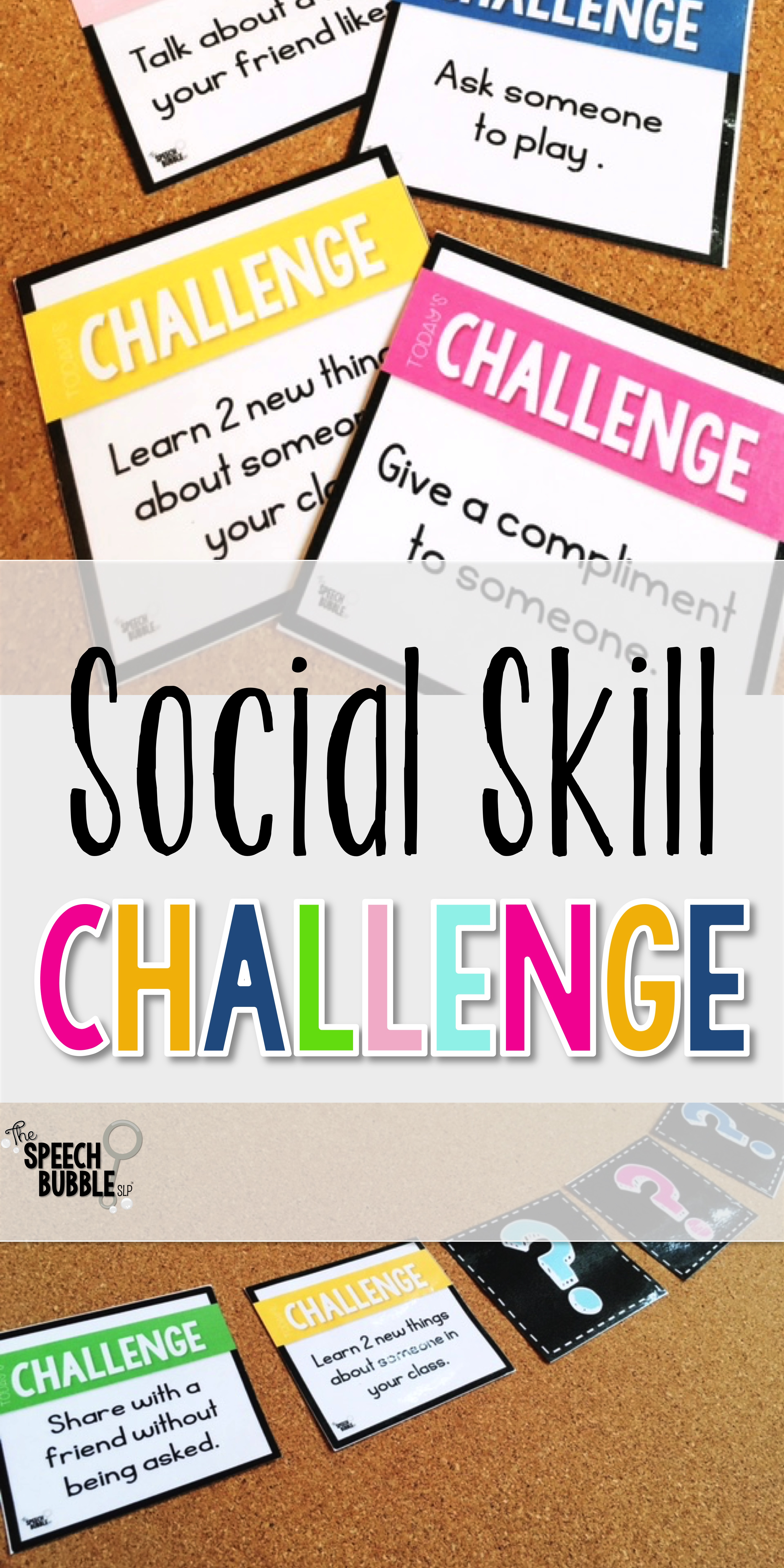 Social Skill Challenge game cards the speech bubble slp