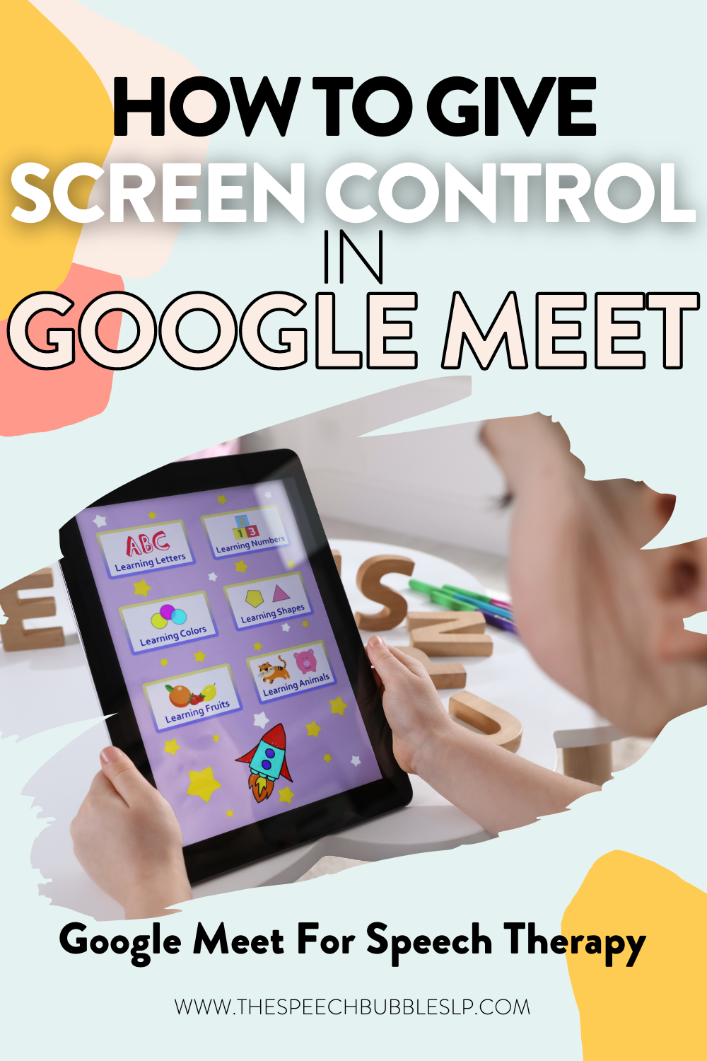 how to give screen control in Google meet for speech therapy and teletherapy